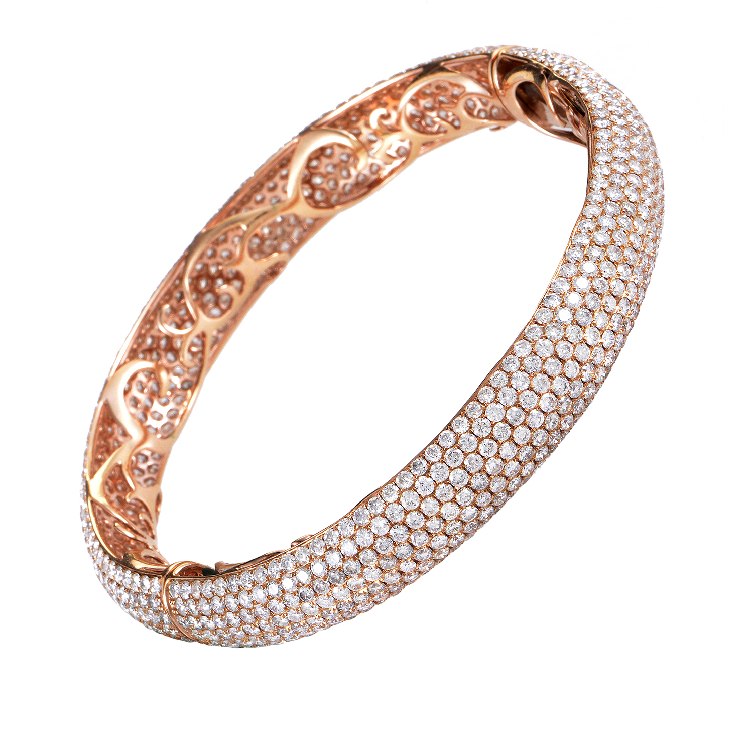 18K Rose Gold Diamond Pave Bangle Bracelet BT41841RRZ