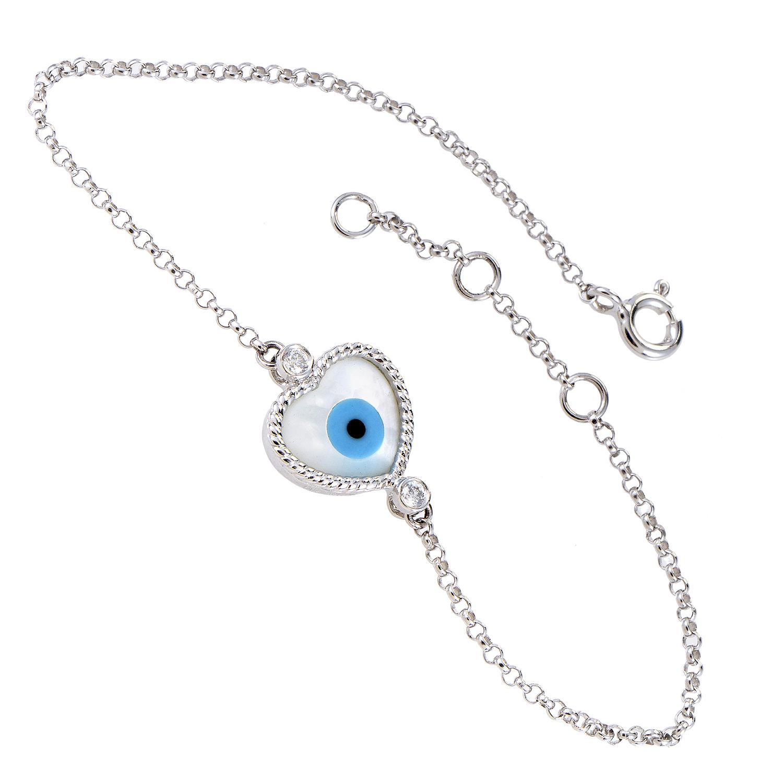 Women's 18K White Gold Diamond & Enamel Evil Eye Heart Bracelet BT5407NBZ