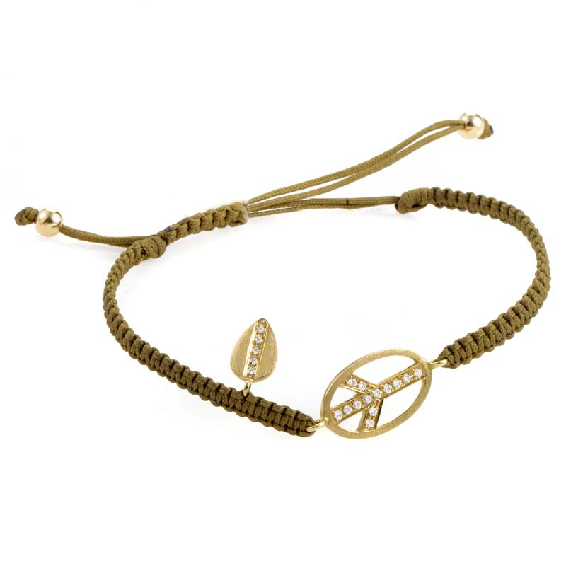 18K Yellow Gold & Diamond Peace Sign Knitted Bracelet BT587TUZZCHA