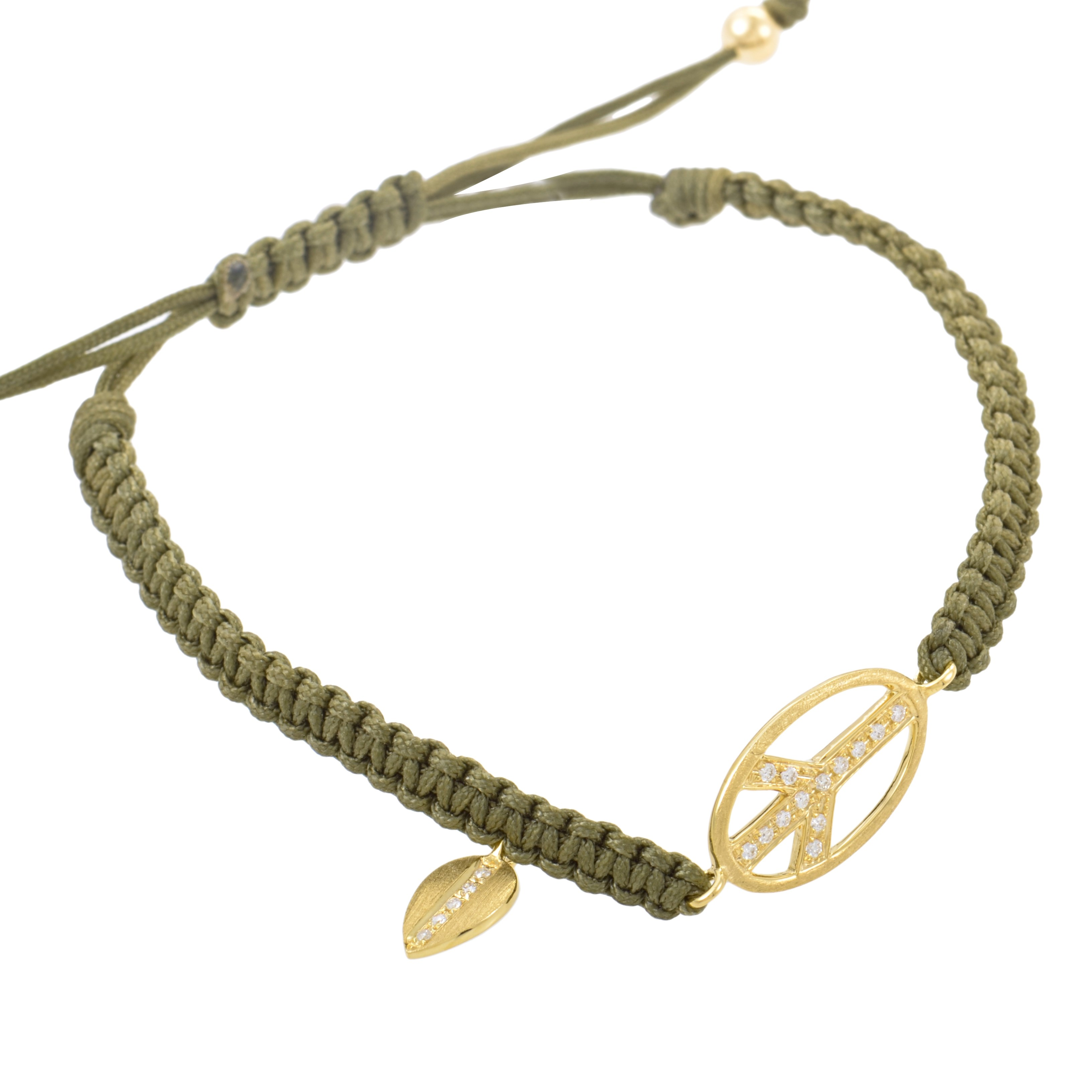 18K Yellow Gold & Diamond Peace Sign Knitted Bracelet BT587TUZZGRN
