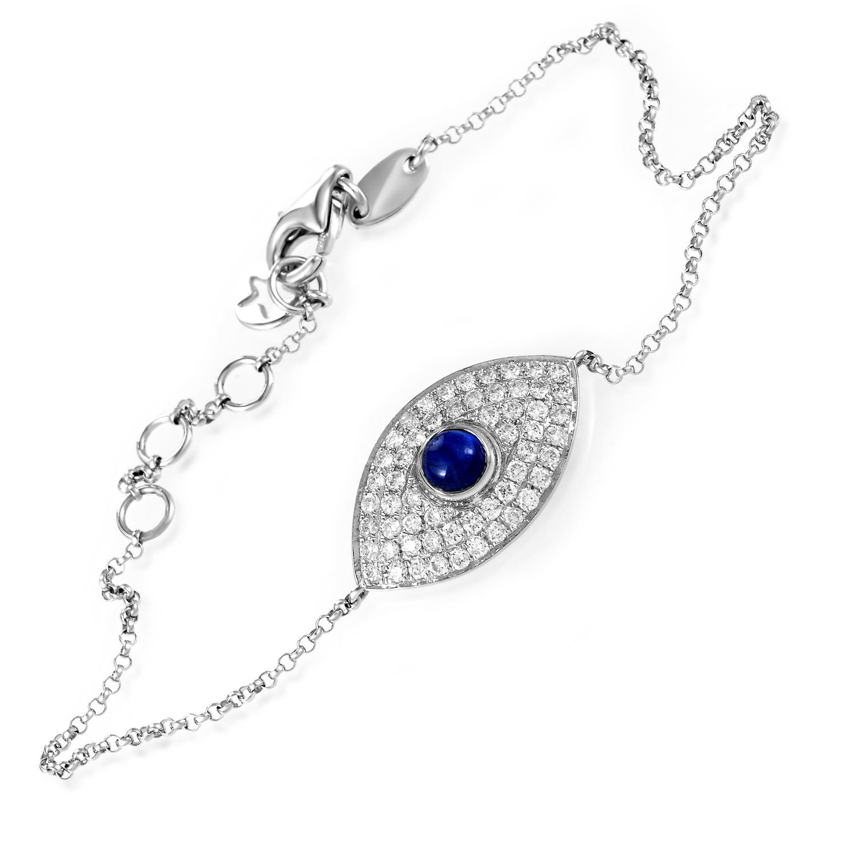 Women's 18K White Gold Diamond Pave & Sapphire Cabochon Evil Eye Bracelet