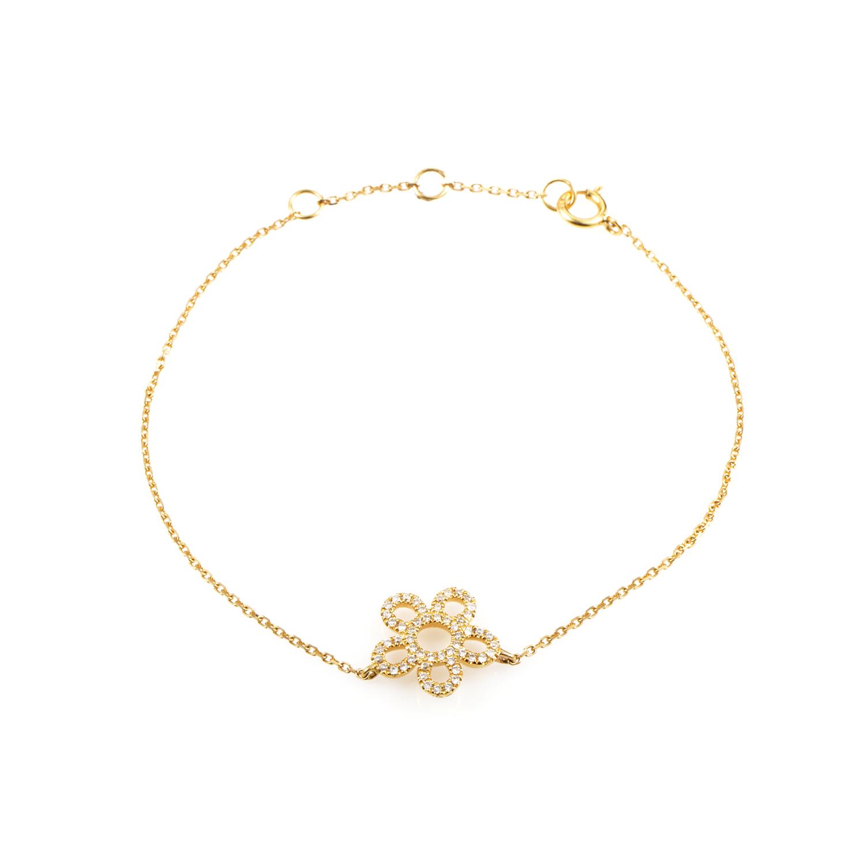 Women's 18K Yellow Gold Diamond Pave Daisy Bracelet BT70681BJZZ