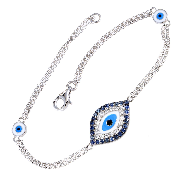 Women's 18K White Gold Diamond & Sapphire Evil Eye Bracelet BT73021RBZSA