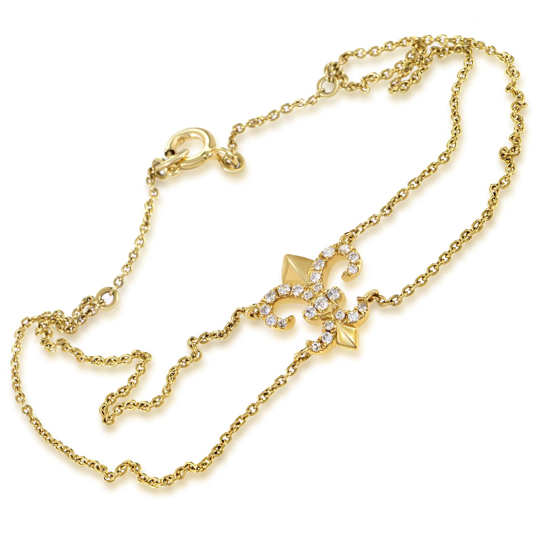 Women's 18K Yellow Gold Diamond Fleur-De-Lis Bracelet BT79651RZZ