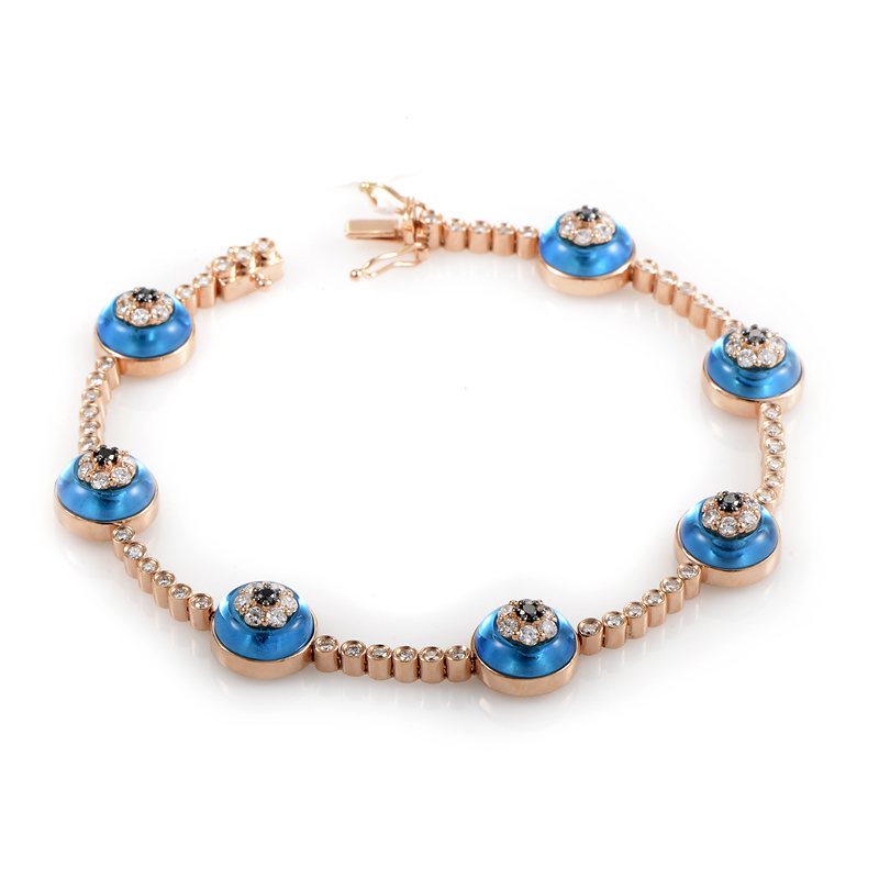 18K Rose Gold Diamond & Topaz Evil Eye Bracelet BT81201RRZ