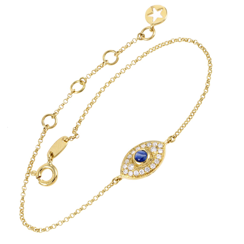 Women's 18K Yellow Gold Diamond Pave Sapphire Evil Eye Bracelet