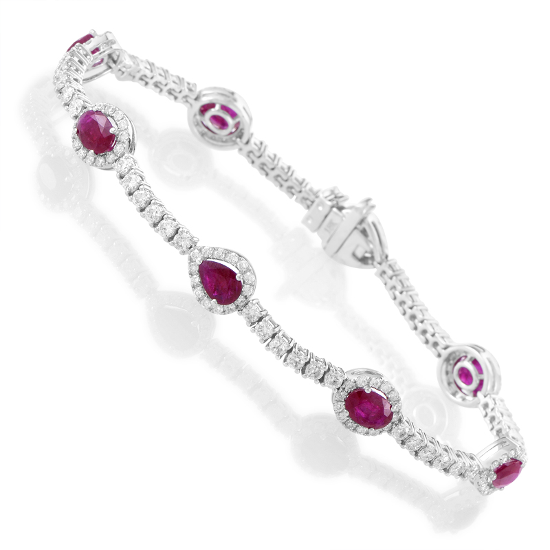 18K White Gold Diamond & Ruby Tennis Bracelet BTUR9851BTBZRU
