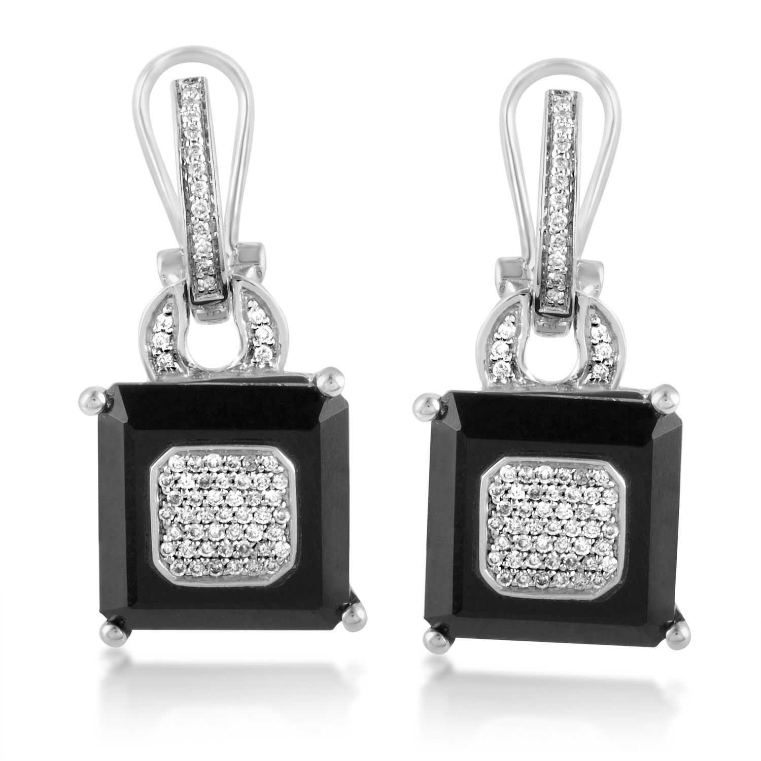 Women's 18K White Gold Diamond & Onyx Dangle Earrings CED8337