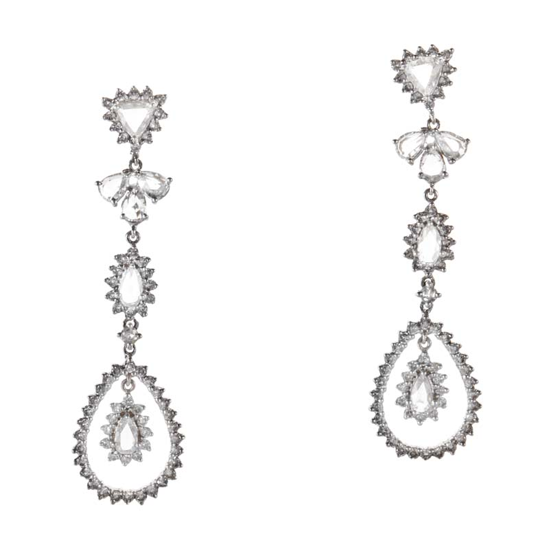 18K White Gold Diamond Drop Earrings CED6499