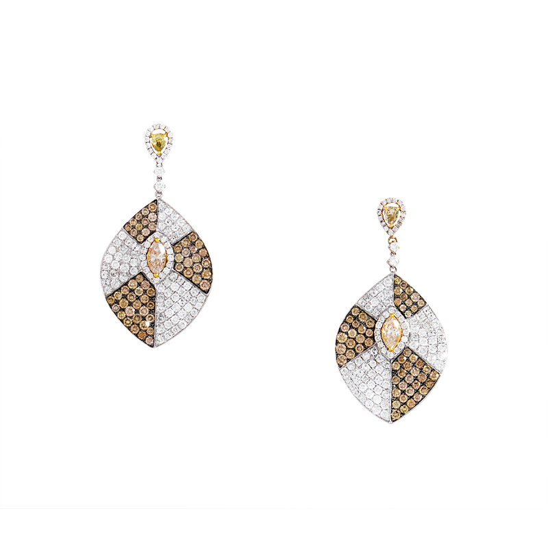 18K Multi-Gold White & Yellow Diamond Pave Drop Earrings CED7999