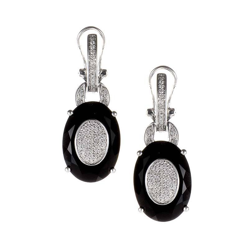18K White Gold Onyx & Diamond Drop Earrings