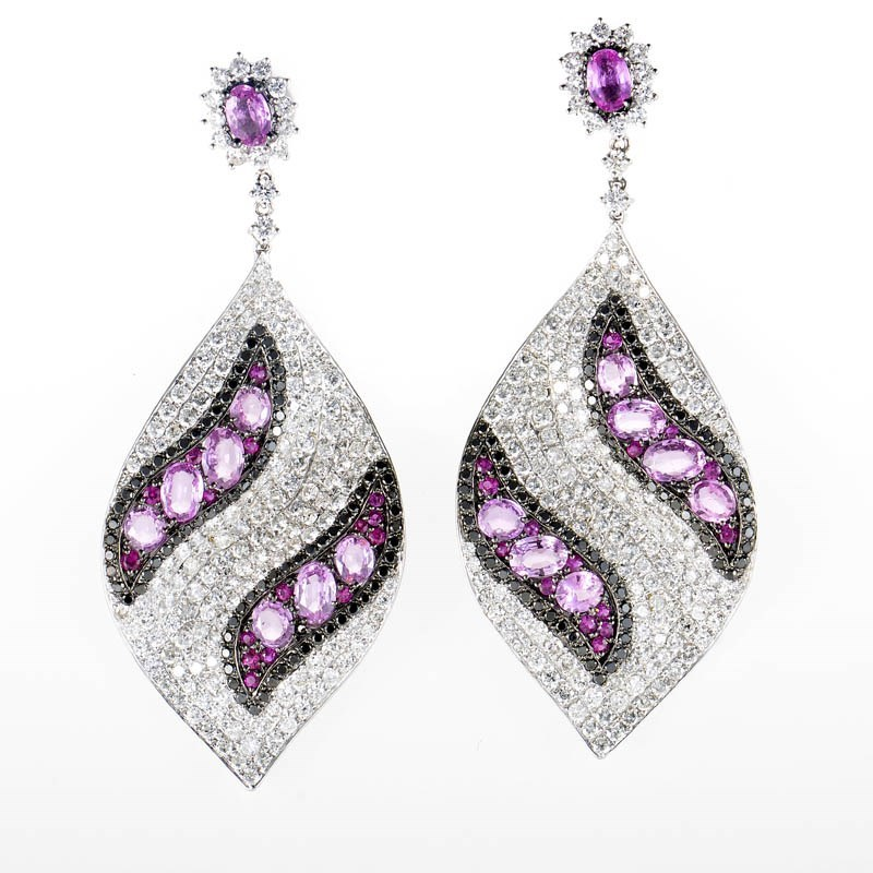 18K White Gold Diamond & Pink Sapphire Leaf Drop Earrings