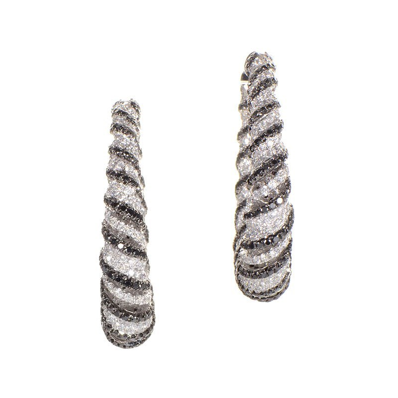 18K White Gold Zebra Hoop Earrings