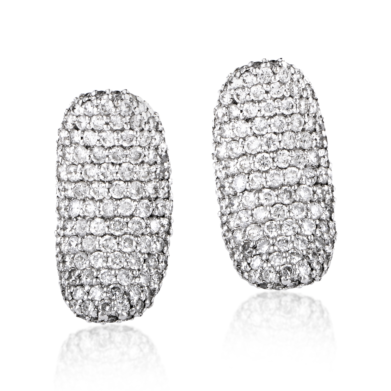 Women's 18K White Gold Diamond Pave Huggie Earrings CED8946