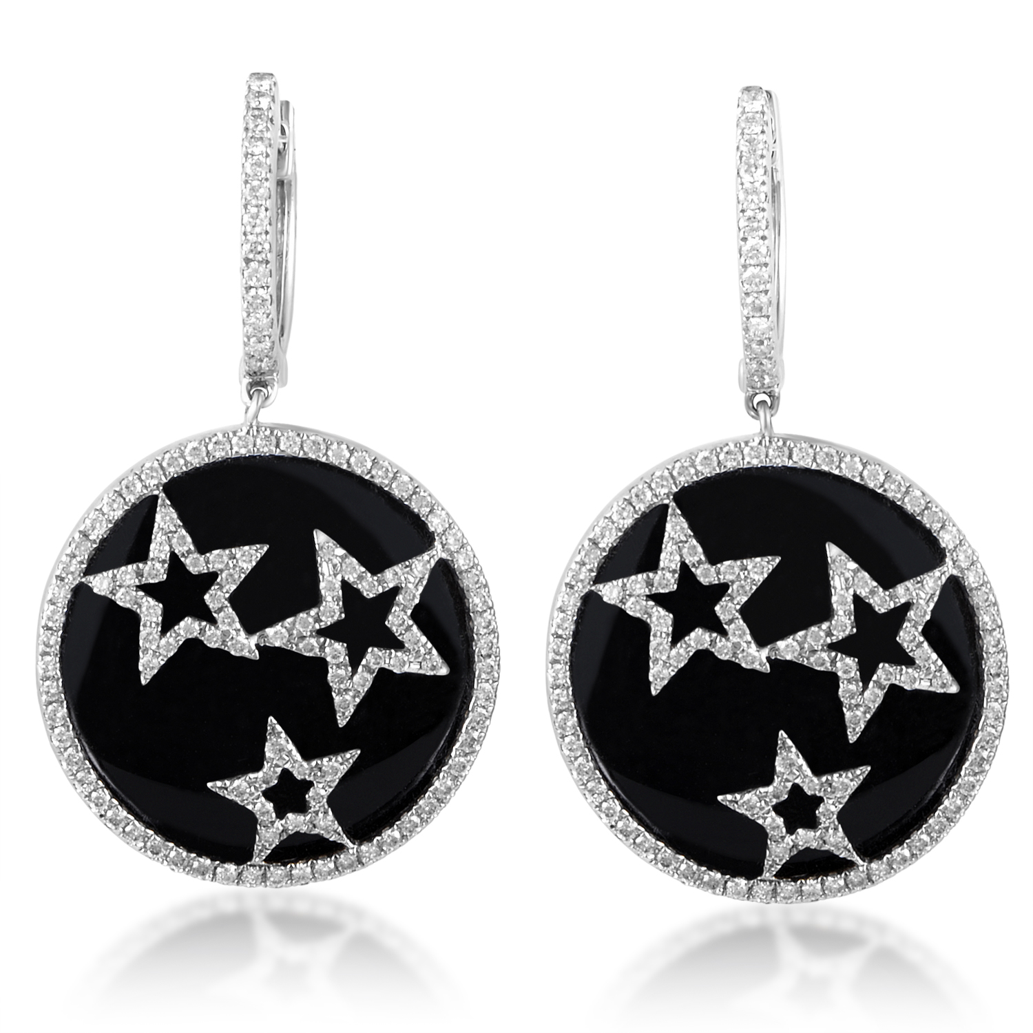 Women's 18K White Gold Diamond Stars Dangle Earrings CED9161