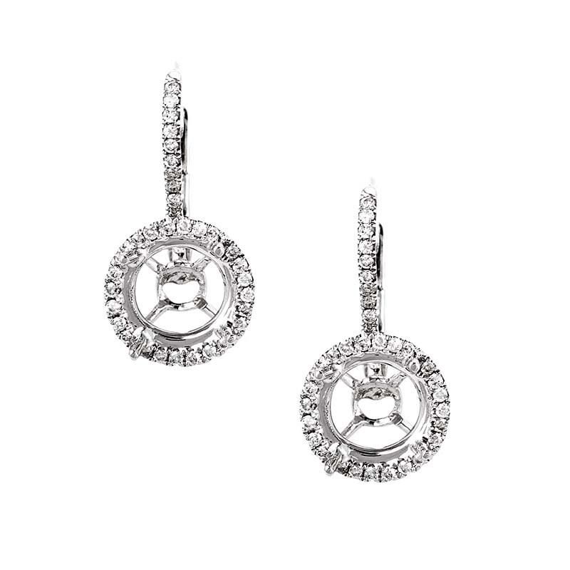 Lovely 18K White Gold Diamond Earring Mountings