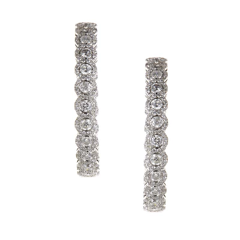 18K White Gold Diamond Hoop Earrings CED9249