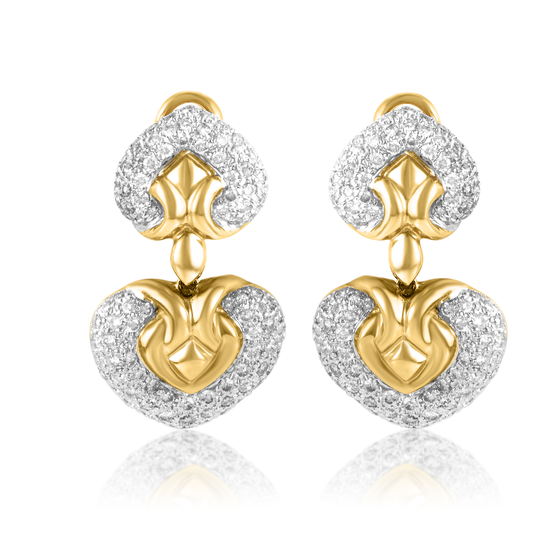 Women's 18K White & Yellow Gold Diamond Heart Earrings CED9259