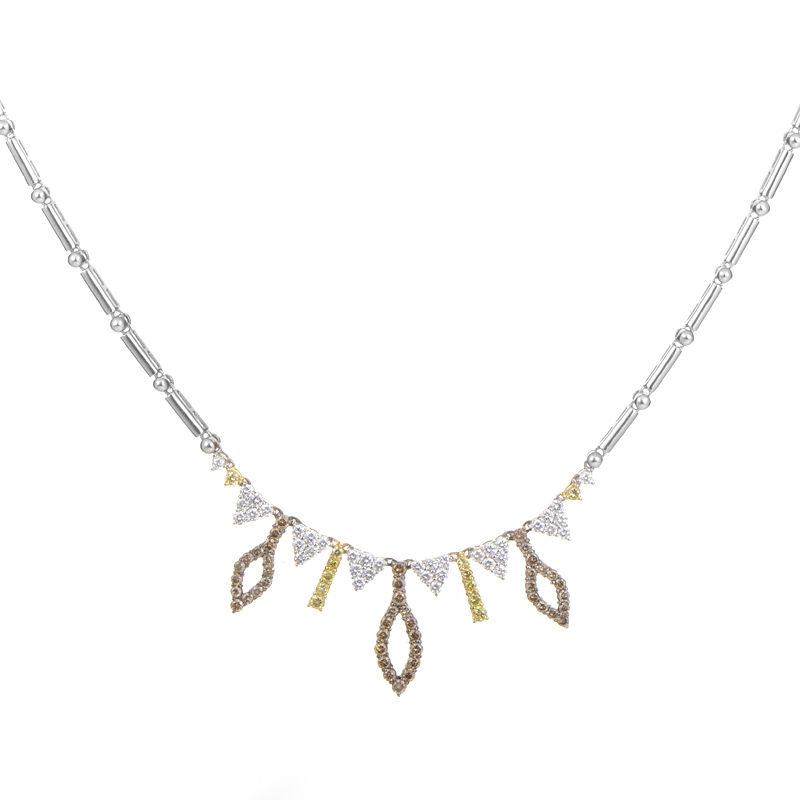 18K White Gold Multi-Diamond Necklace CND6403