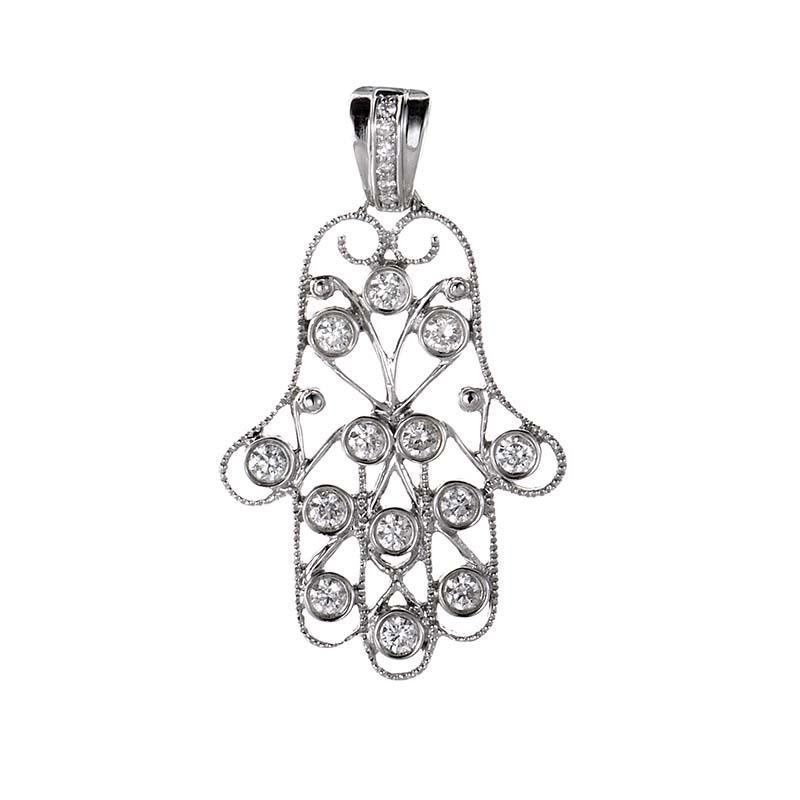 18K White Gold Diamond Hamsa Pendant