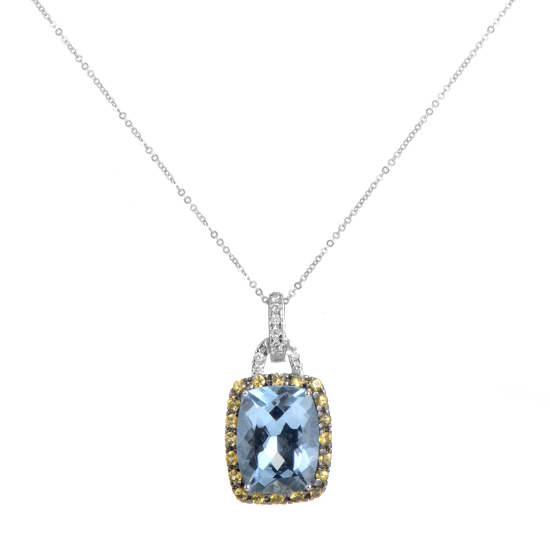 18K White Gold Gemstone Pendant Necklace CPD8640