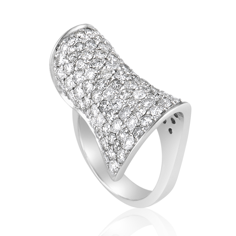 Curved 18K White Gold Diamond Pave Ring CRD8535