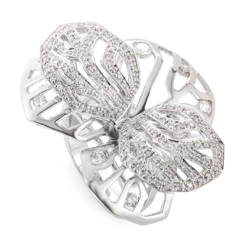 18K White Gold Diamond Pave Flower Ring CRR3056