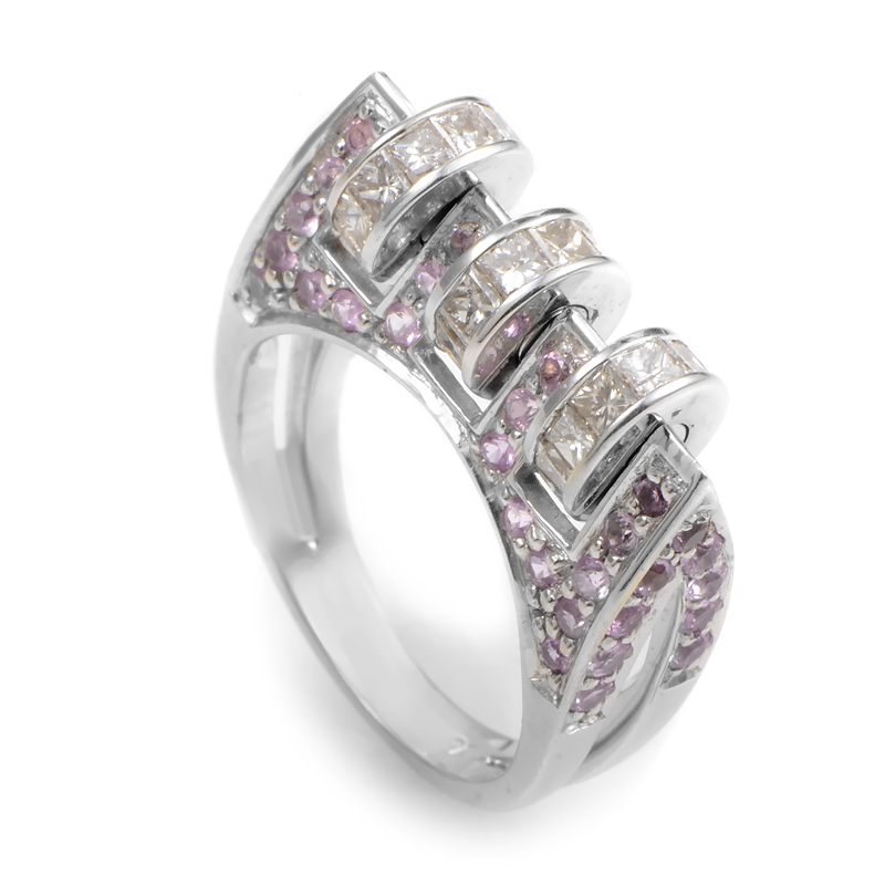 18K White Gold Pink Sapphire & Diamond Ring CRR3153