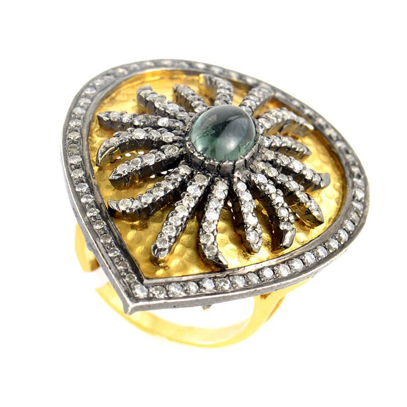 18K Yellow Gold Tourmaline & Diamond Shield Ring