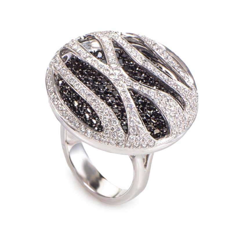 18K White Gold Black & White Diamond Pave Stripes Ring CRR6946