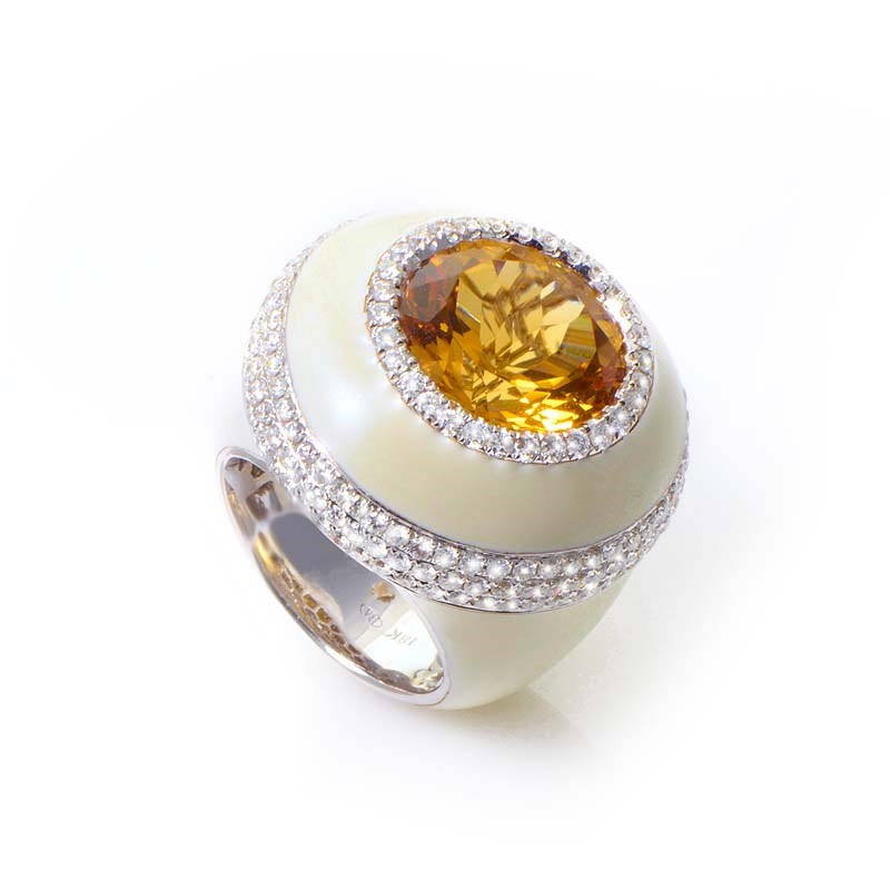 18K White Gold Enamel Citrine & Diamond Ring