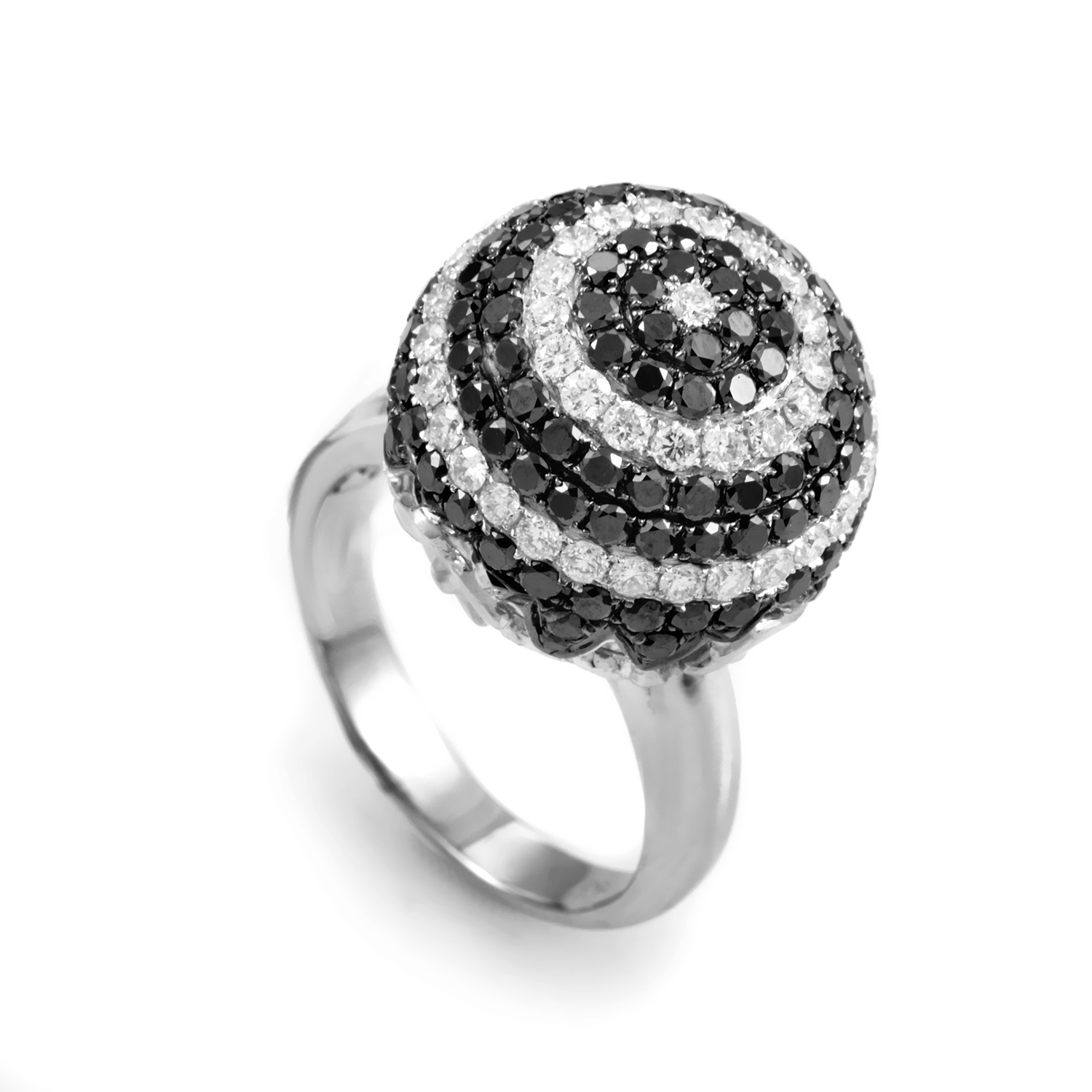 18K White and Black Diamond Sphere Ring CRR7403