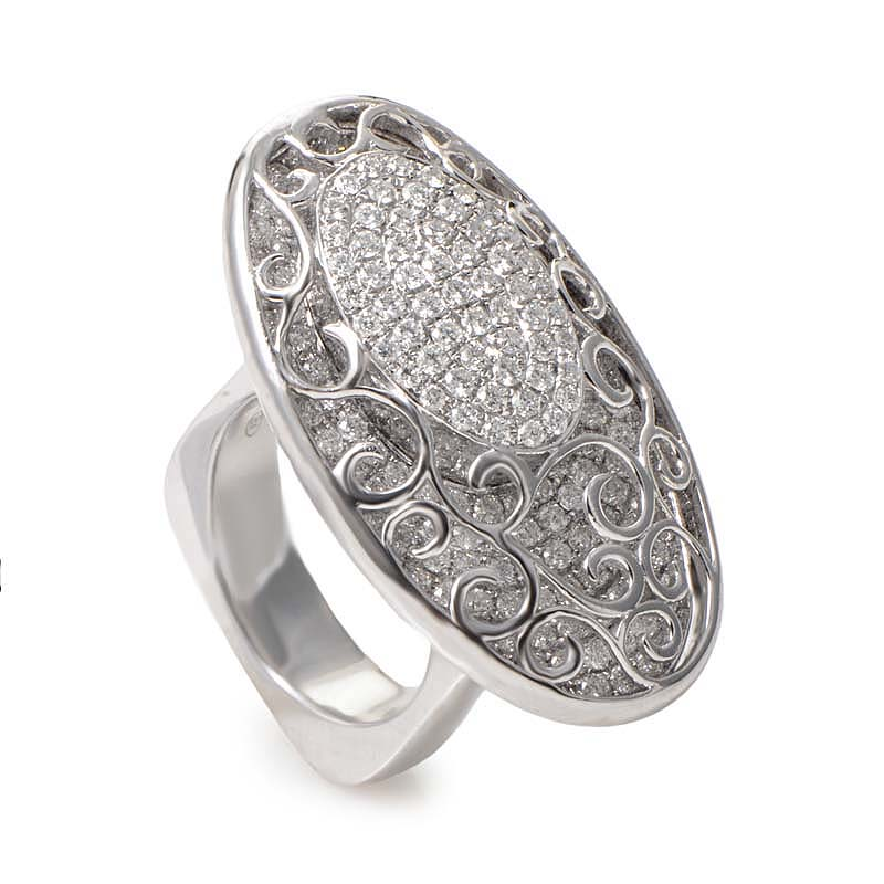 18K White Gold Diamond Pave Lace Ellipse Ring CRR7611