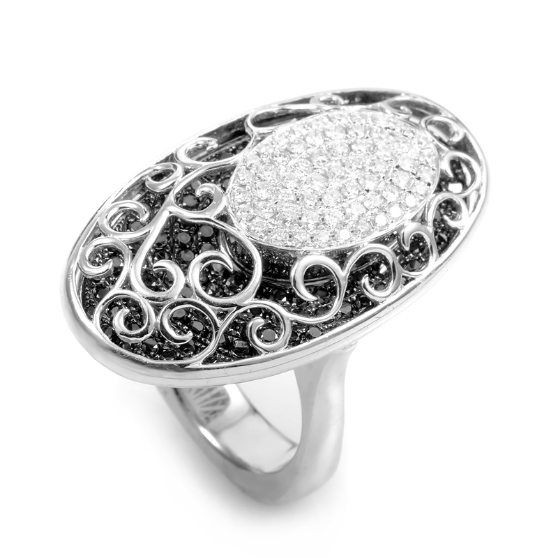 18K White Gold Black & White Diamond Cocktail Ring CRR7612