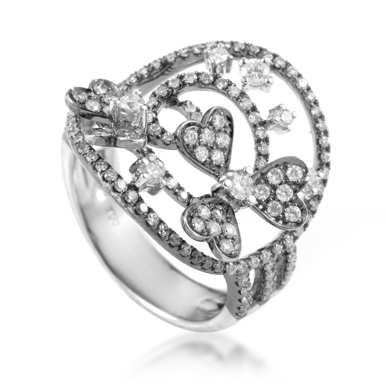 Ornate 18K White Gold Diamond Ring CRR8125