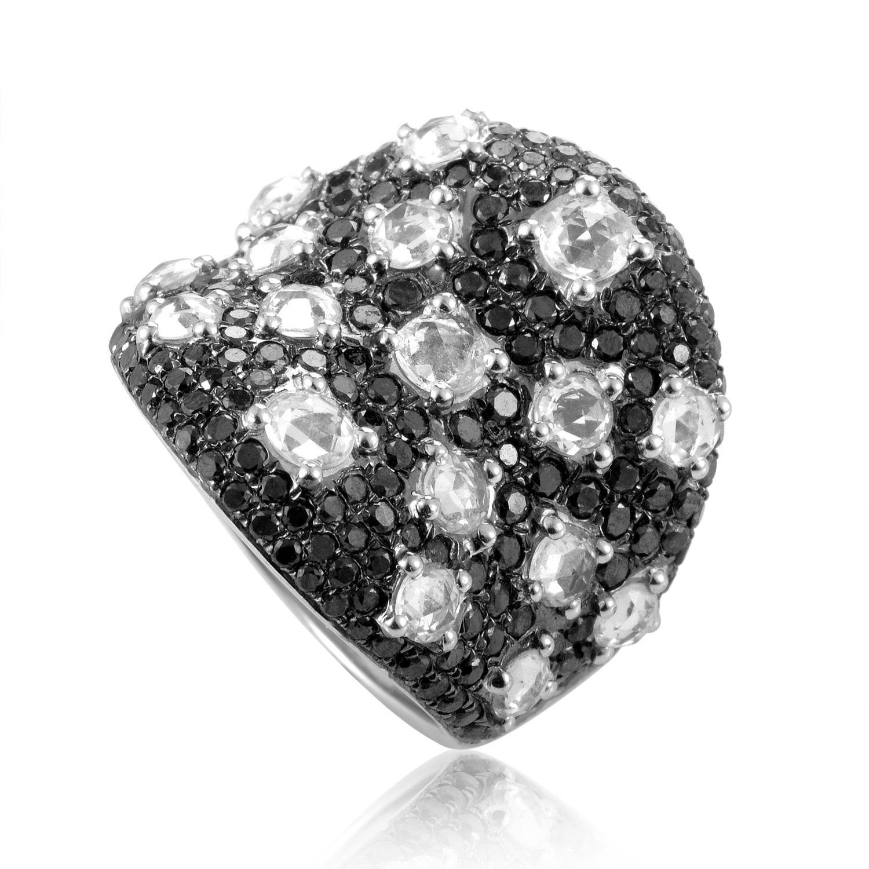 18K White Gold Black & White Diamond Ring CRR8128