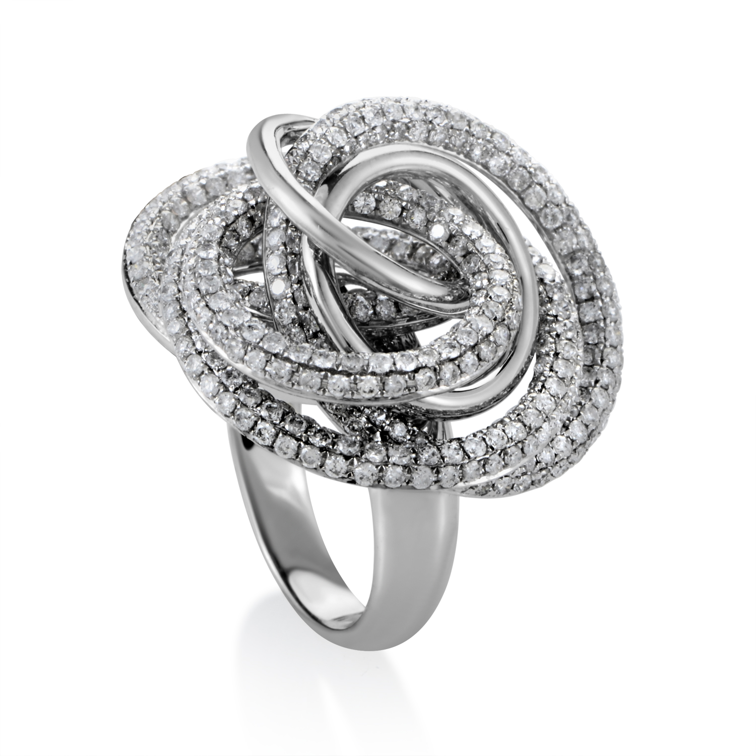 18K White Gold Swirling Cluster Diamond Ring CRR8129