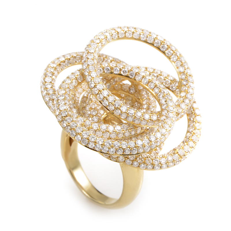 18K Yellow Gold Diamond Circles Ring CRR8130