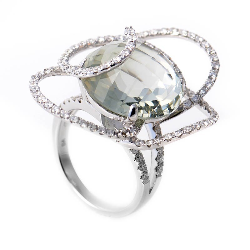 18K White Gold Green Amethyst & Swirled Diamonds Ring CRR8141