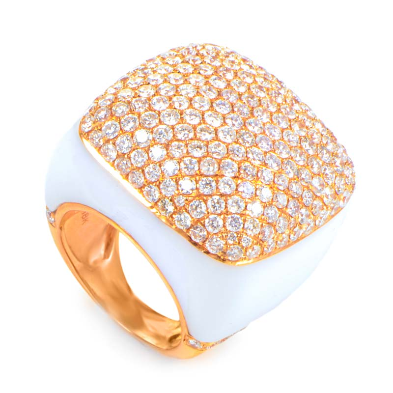 Womens 18K Rose Gold Diamond Pave and White Onyx  Cocktail Ring