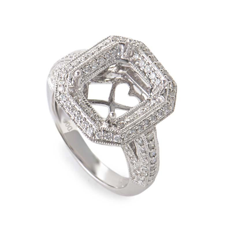 Intricate 18K White Gold Diamond Pave Mounting Ring CRR8253