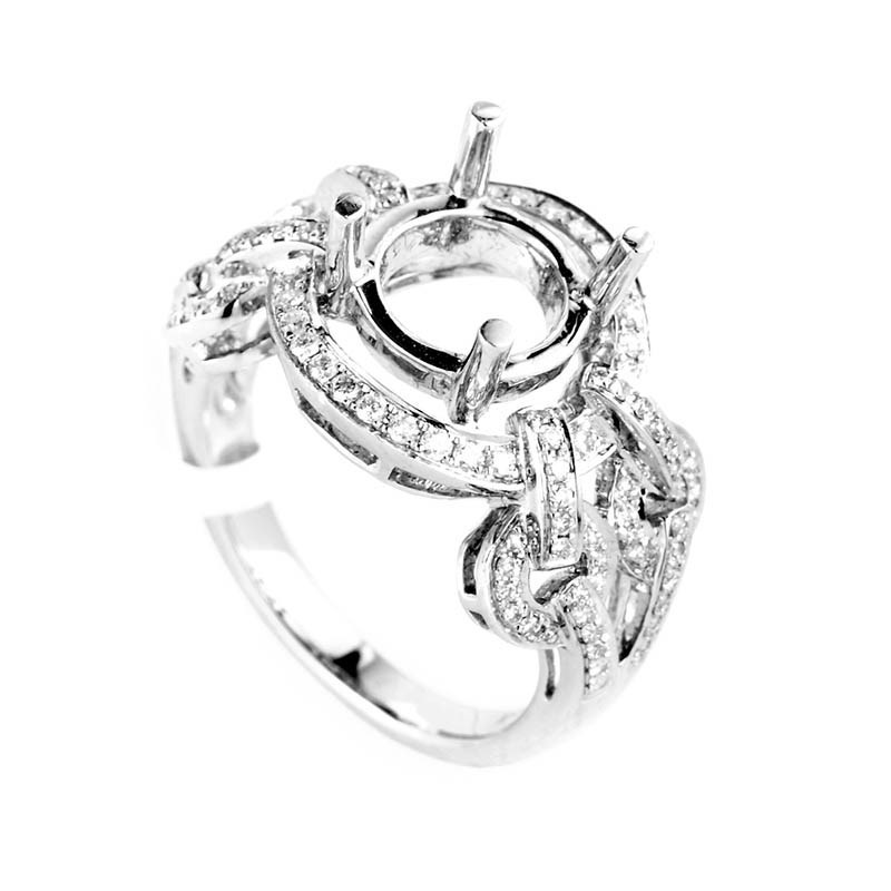 18K White Gold Braided Shanks Bridal Mounting Ring
