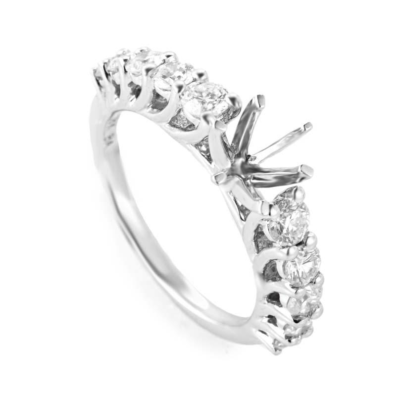 18K White Gold 10 Diamond Mounting Ring CRR8538