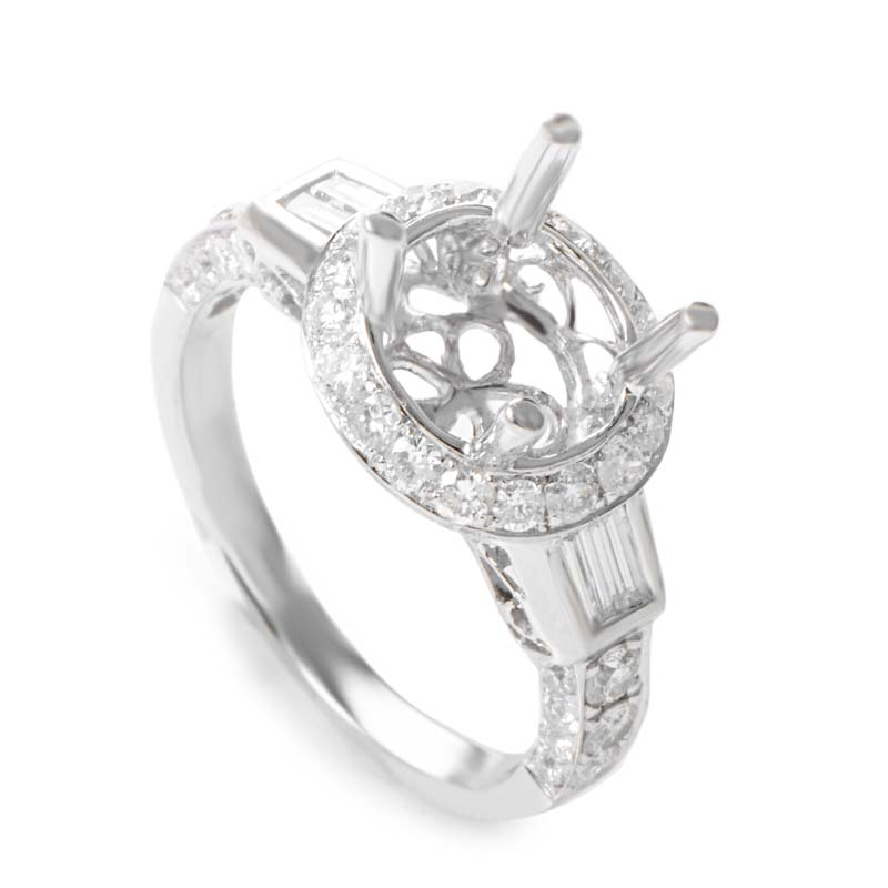 18K White Gold Oval Diamond Pave Mounting Ring CRR8912