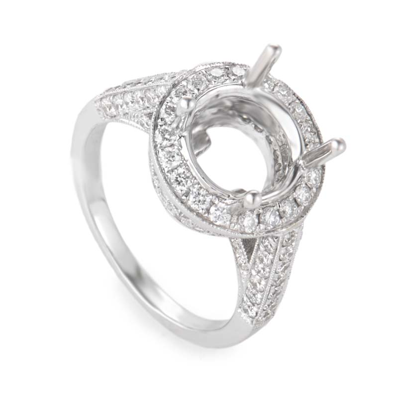 18K White Gold Opulent Oval Mounting Ring CRR9270