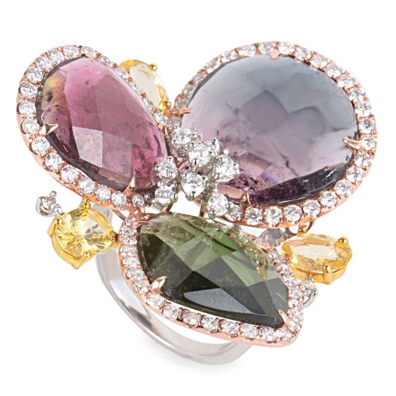 18K Multi Gold Gemstone & Diamond Cluster Ring CRR9758
