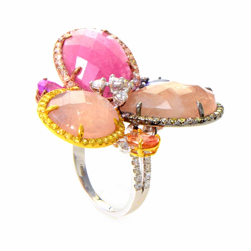 18K White Gold Diamond & Multi Colored Sapphire Flower Ring CRR9759