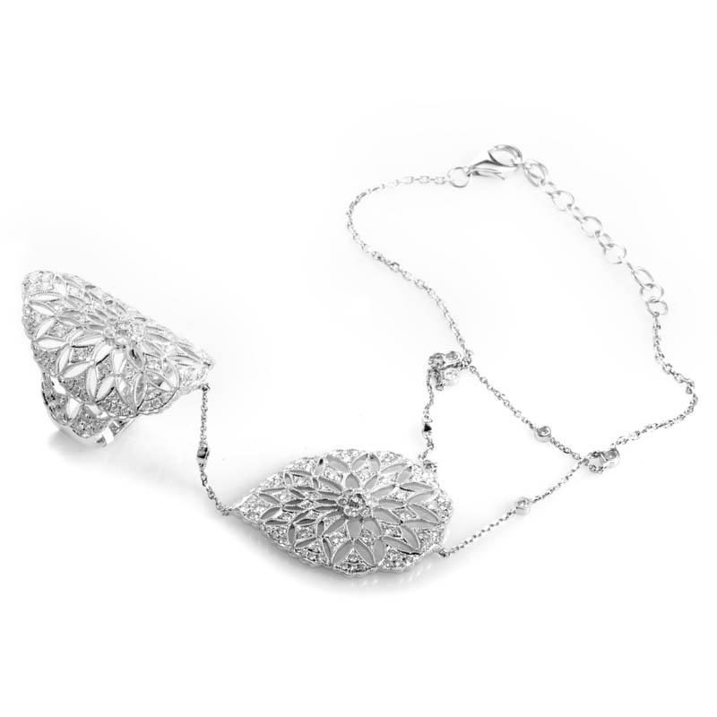 18K White Gold Diamond Pave Slave Bracelet DE74381BFBZLRG