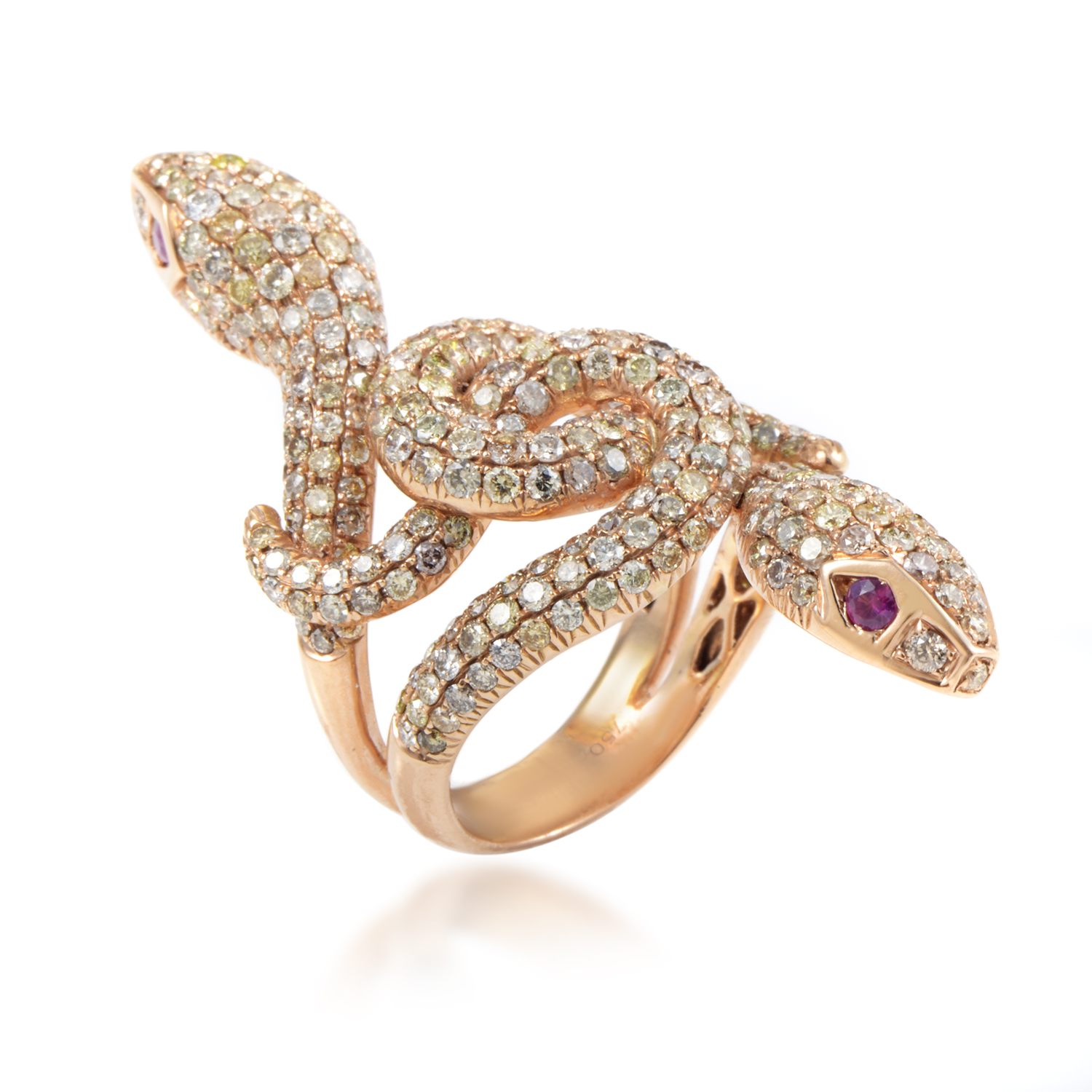 Women's 18K Rose Gold Diamond & Ruby Double Headed Snake Ring FDR7374