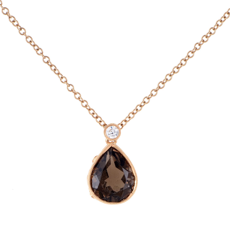 Women's 18K Rose Gold Diamond & Smoky Topaz Pendant Necklace